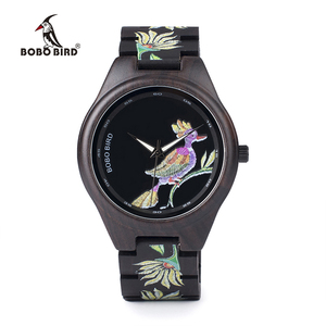 Image 2 - BOBO BIRD WP06 Fashion Colorful Print Wood Watch for Men Women Newest Imitate Embroidery Brand Design Quartz Watches as Gift