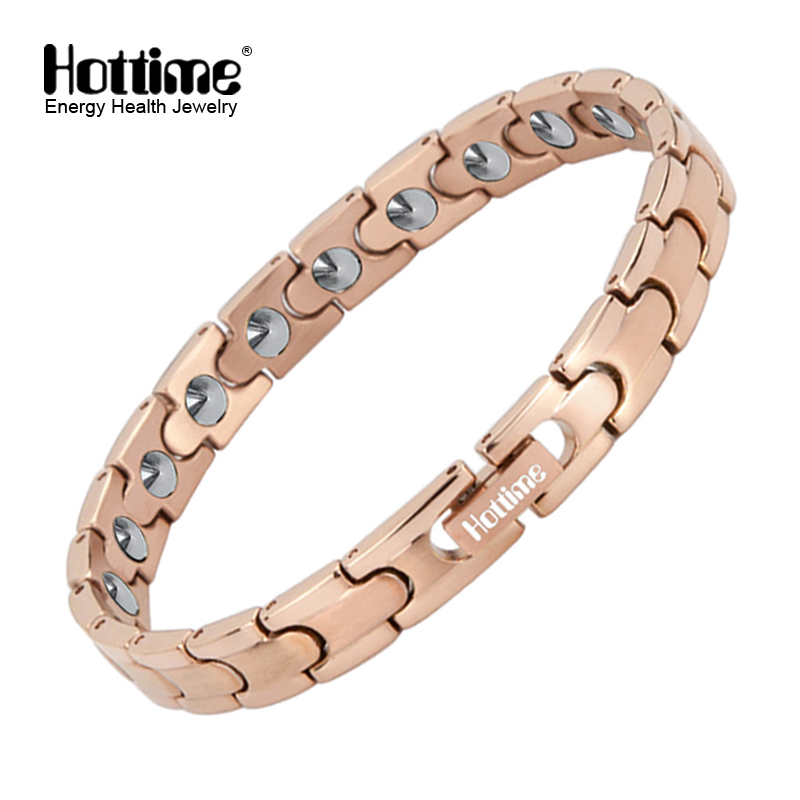 Hottime Rose Gold Plating Bracelet 20 PCS 99 9999 Pure Germanium Bracelet For Women Stainless Steel