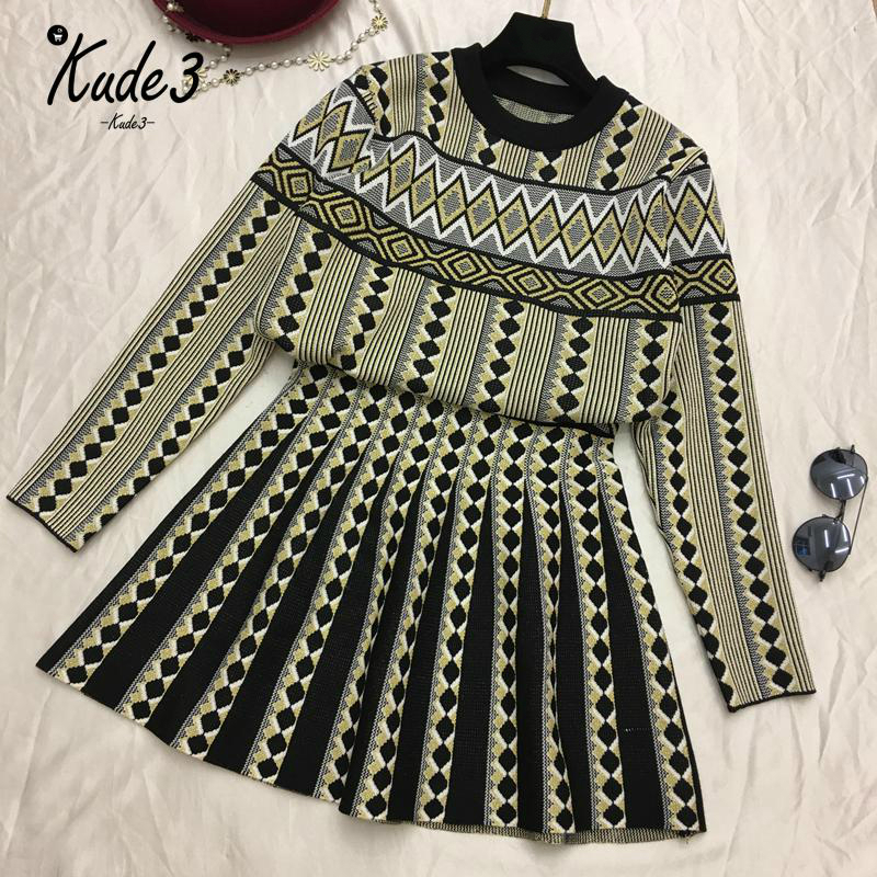 Women Vintage Knit Sweater Skirts Sets Geometric Printed Female Woman Knitting Clothing Suits 3Colors New 8446