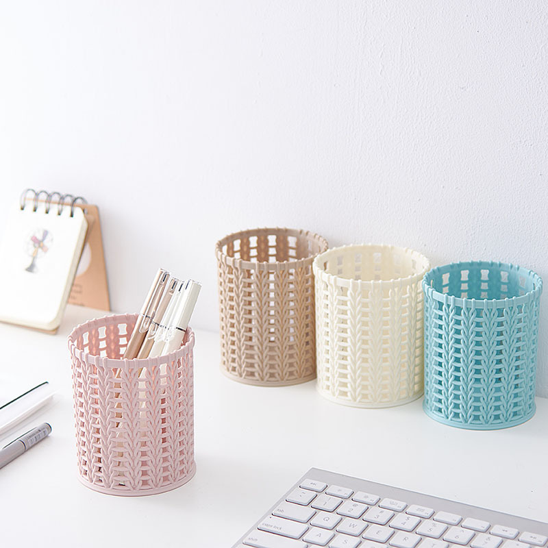 Coloffice Creative hollow plastic pen holder Multifunctional round student desktop storage school office stationery organizer cute cat pen holders multifunctional storage wooden cosmetic storage box memo box penholder gift office organizer school supplie