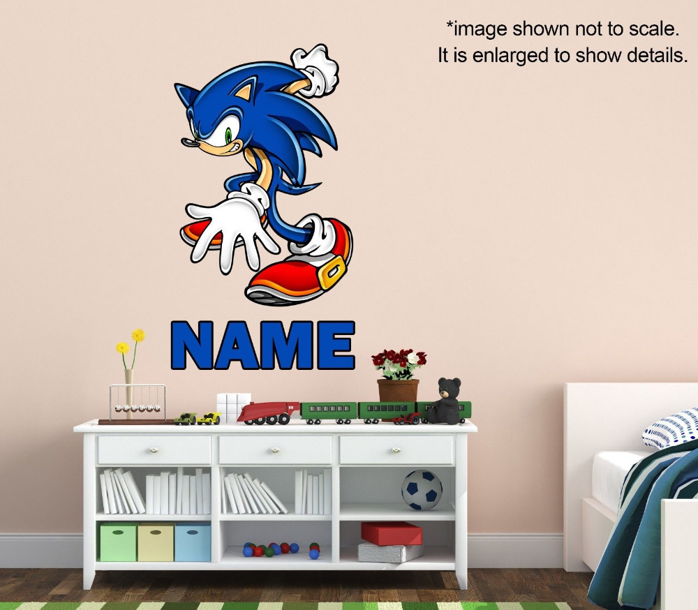 Personalized Sonic The Hedgehog Wall Decal (Removable And  Replaceable)14inx25in Part 18