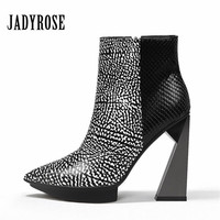 Jady Rose 2019 Women Ultra High Heels Shoes Genuine Leather Winter Autumn Zipper Ankle Boots Women Pointed Toe Fashion New Pumps