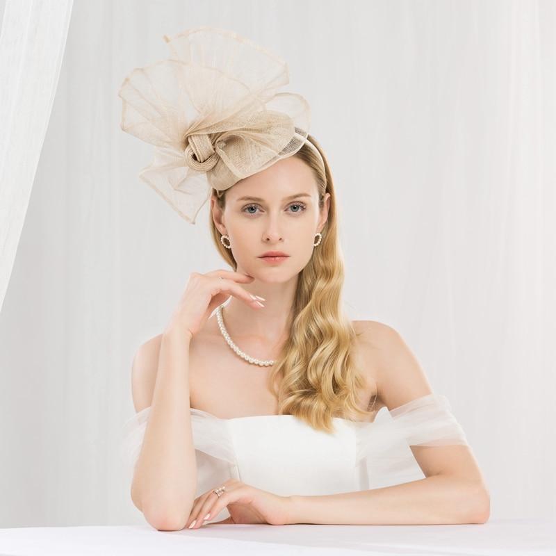 Linen Yarn Fedoras Hat Formal Occasion Female Church Wedding Party Banquet Elegant Hats Early Spring Women