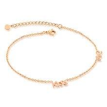 Nueva manera de la versión Europea de la cadena de pie bésame GZ035 simple cadena del pie de la personalidad de acero de titanio rosa de oro femenina