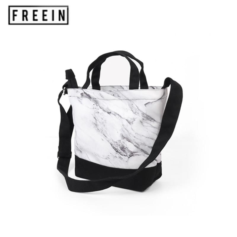Women's Handbag Small Tote Soft Bag Marble Printed Canvas Inside Zipper Multi-Purpose Bag Slung Bag Portable Fashion