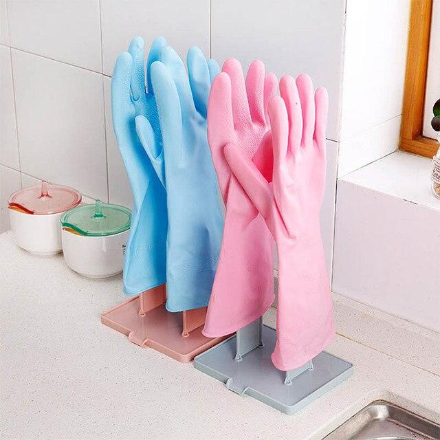 Plastik 1 Takım Taşınabilir Banyo Depolama Rafı Eldiven Kurutma Raf Masaüstü Drenaj Saklama Raf Eldiven Kurutma Aksesuarları