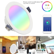 WiFi Smart LED Downlight led Ceiling Light Lamp 9W RGBW Indoor Living Room Voice Control For Alexa/Google Home