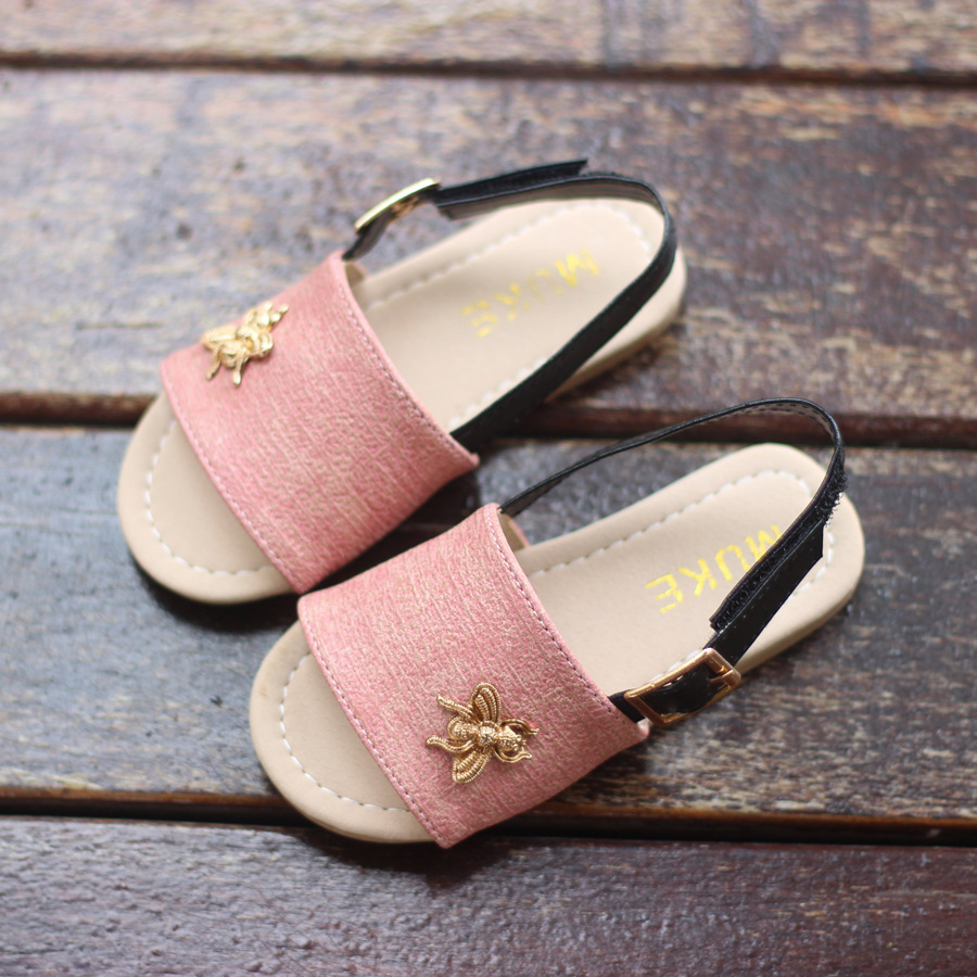 New Summer Girls Sandals For Kids Party Princess Sandals Baby Toddler Shoes Child Leather Beach Shoes Little Girls Open Toe Flat