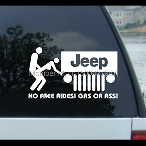 NO FREE RIDES decal for JEEP CJ GRAND CHEROKEE WRANGLER RENEGADE Commander Commando Compass Patriot (WHITE) 6'' hochitech single color under car body light led rock light waterproof for jeep wrangler compass cherokee renegade rand cherokee
