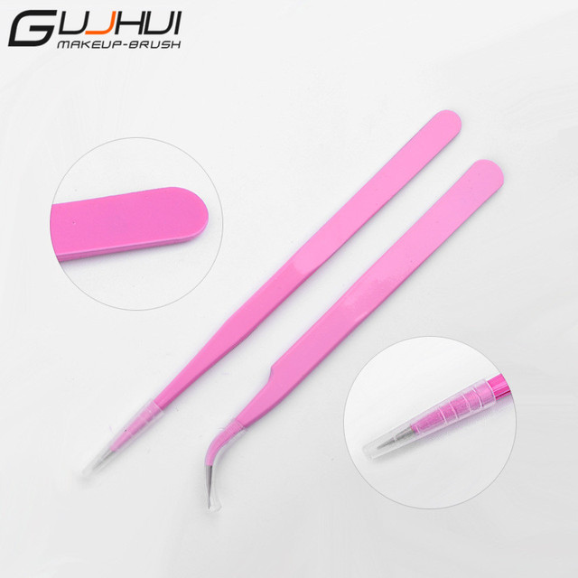 GUJHUI 2PCS Pink Straight & Curved Tweezer For Eyelash Extensions ...