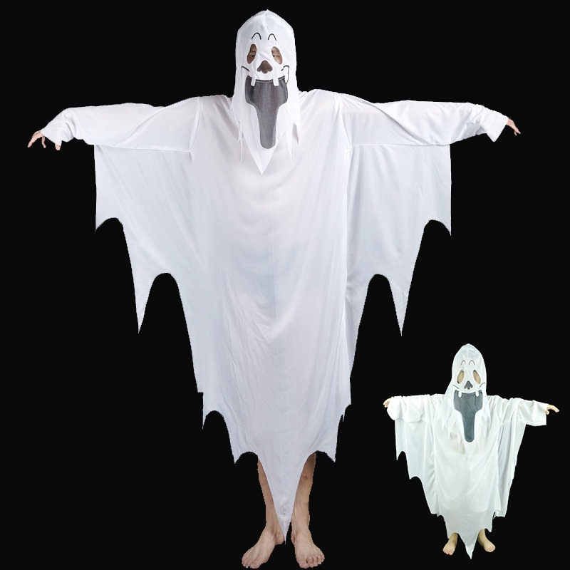 New White Ghost Costumes Adults Men Kids Boys Ghost Devil Vampire Cosplay Costume Halloween Carnival Party Dress