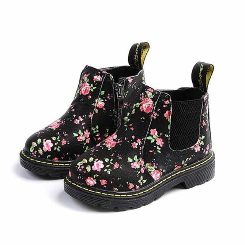 נעלי קרסול מגפי תינוק פעוט בני בנות פרחוני פרח הדפסת צ 'לסי מגפי סתיו ילדי נעלי 02B