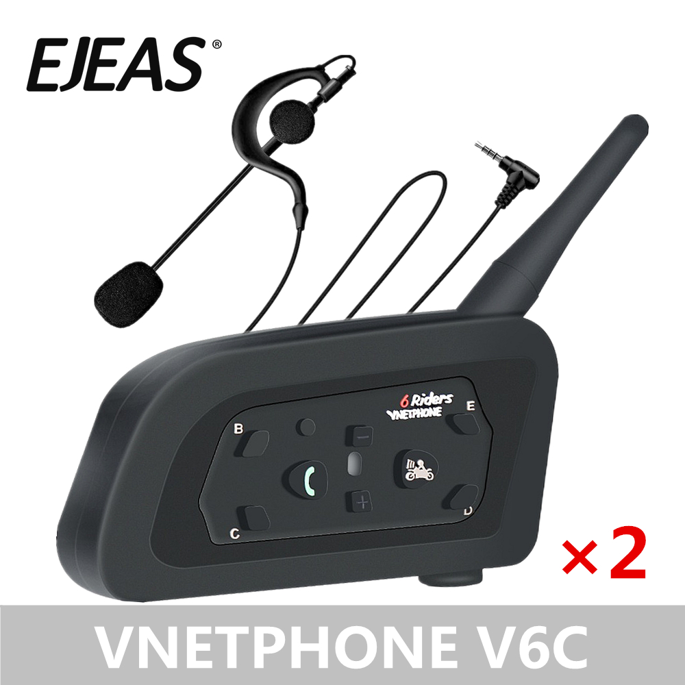 2 Packs EJEAS Professional Football Referee Intercom Motorcycle Snowmobile Skiing Motorbike 1200M V6C Wireless BT Intercom