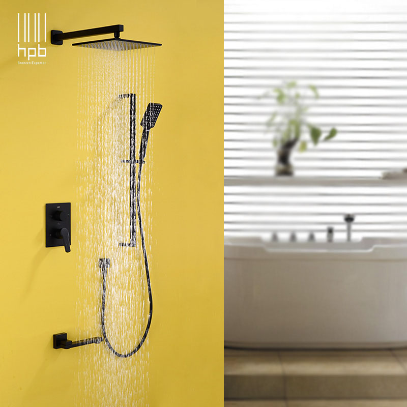 HPB 10'' square bathroom 3 way shower set with slide bars rain shower set with hot and cold mixing valve concealed box DR1B06