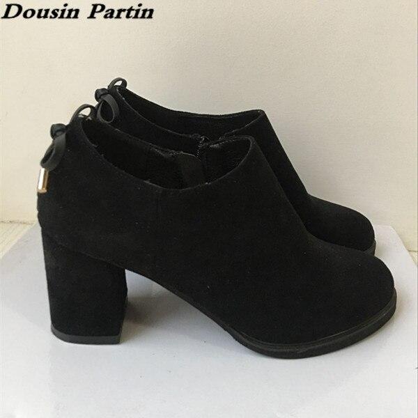 Dousin Partin propre Designer femmes chaussures automne talons épais talons hauts bas en daim cuir chaussures femmes-in Bottines from Chaussures    1