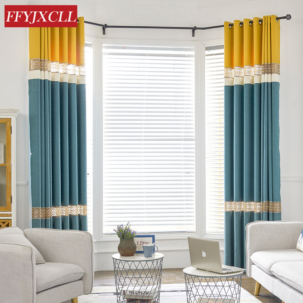 Chinese Simple Modern Embroidered Splicing Blackout Curtains For Living Room Window Cortinas
