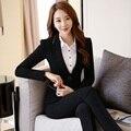 Projeto Uniforme Pantsuits formais Com Jaquetas E Calças Profissional Calças Blazers Ternos Escritório Senhoras Calças Conjunto Feminino Preto