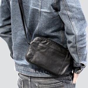 Image 4 - Men Casual Shoulder Bag Handbag Genuine Leather Male Small Bag handmade 100% Cowhide Fashion Mini Satchel Travel Crossbody Bags