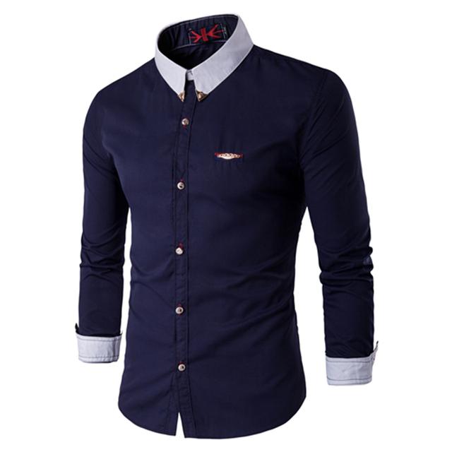 Nueva Camisa de Los Hombres 2015 Remiendo de La Manera Diseño Mens Adelgazan las Camisas de Vestido Ocasional Con Estilo Camisetas de Manga Larga Marca Camisa Chemise Homme