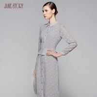 Janestory весна женская тонкая Элегантное платье Длинные рукава шифон жаккардовые оформлен рюшами в талии офис леди платье Женский часть