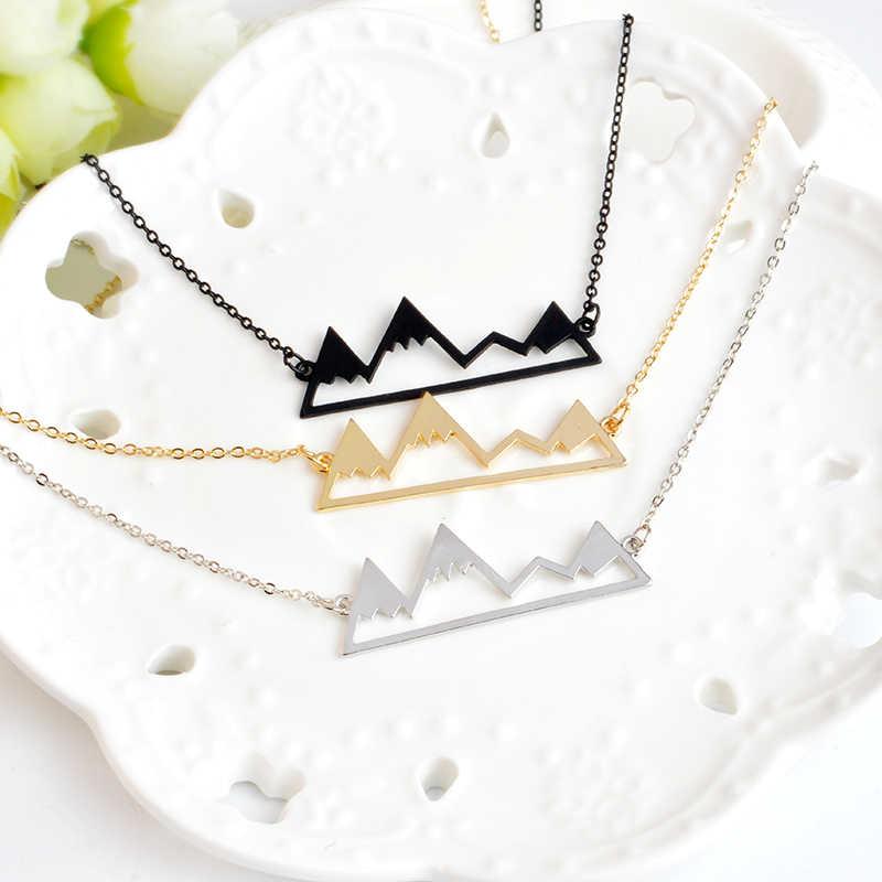 Snowy góry wisiorek naszyjnik dla kobiet mężczyzn Hollow Mountain top naszyjniki naturalne piesze wycieczki odkryty podróże biżuteria wspinaczka prezent