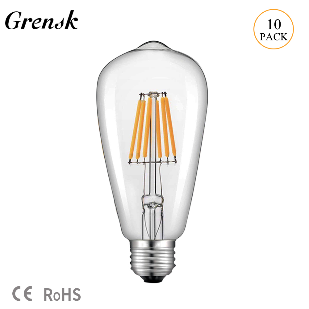 Grensk DC 12V 24V Light Bulb ST58 E27 Led Bulb Daylight White 4500K Low Voltage 6W Edison 12V Led Lamp Warm White 2700K Bulb Equivalent 60 Watt Incandescent lamp
