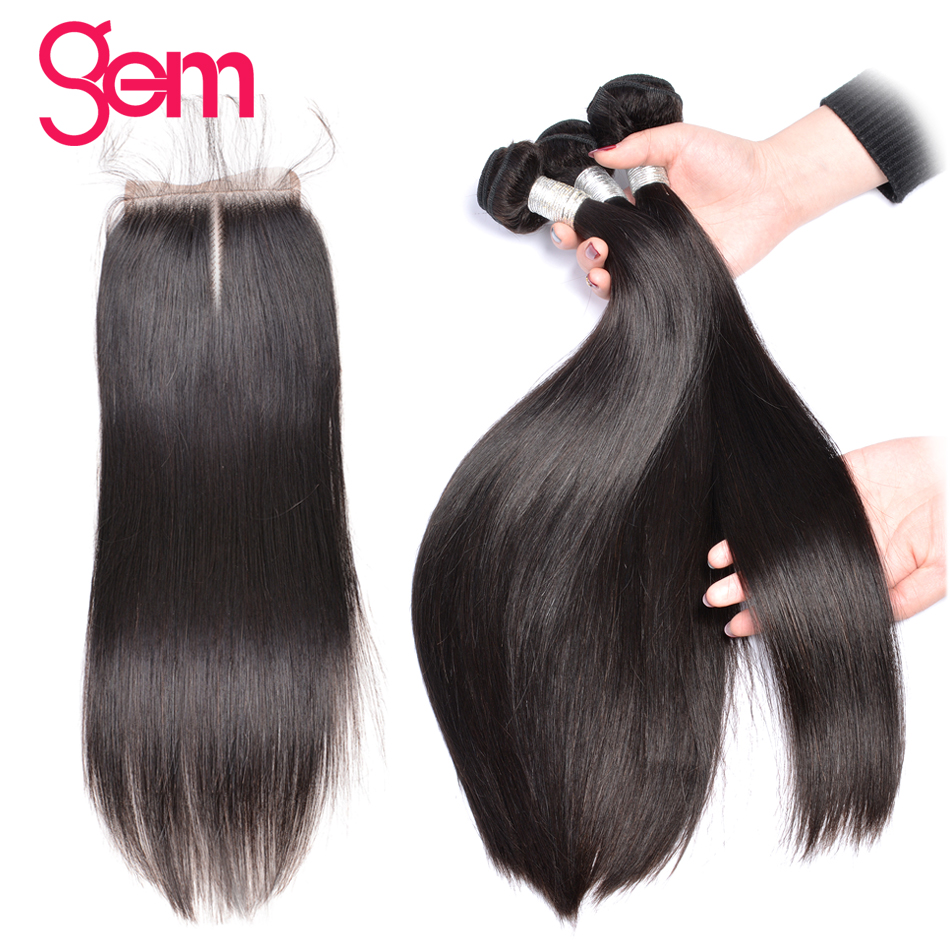 Brazilian Straight Hair with Closure 3 Bundles Human Hair Weft with Lace Closure Baby Hair Natural Color GEM Beauty Remy Weave-in 3/4 Bundles with Closure from Hair Extensions & Wigs    1