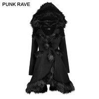 Панк RAVE Готическая Лолита Стиль с капюшоном пальто с мехом для Осенне зимняя Дамская обувь модные черные с длинным рукавом милые теплые кур
