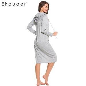 Image 4 - Ekouaer 캐주얼 잠옷 여성 긴 소매 잠옷 후드 긴 Nightdress 가을 Sleepdress 느슨한 솔리드 잠옷 가정 의류