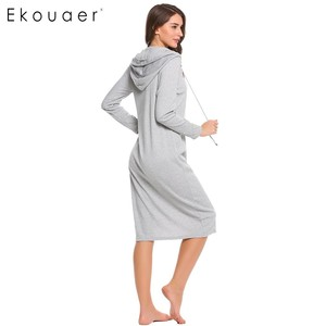 Image 4 - Ekouaer מזדמן כתונת לילה נשים ארוך שרוול הלבשת ברדס ארוך כותונת סתיו Sleepdress Loose מוצק הלבשת בגדי בית