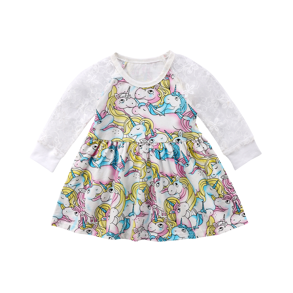 2018 Kids Baby Unicorn Girls Lace Long Sleeve Patchwork Tulle Tutu Dress Princess Party Wedding Gown Cute Clothing Custom