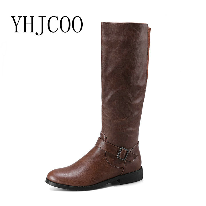 New Quality Women Riding Equestrian Motorcycle Boots Low heel Knee-High Boots Women Fashion Black Brown Shoes Plus Size 43 цены онлайн