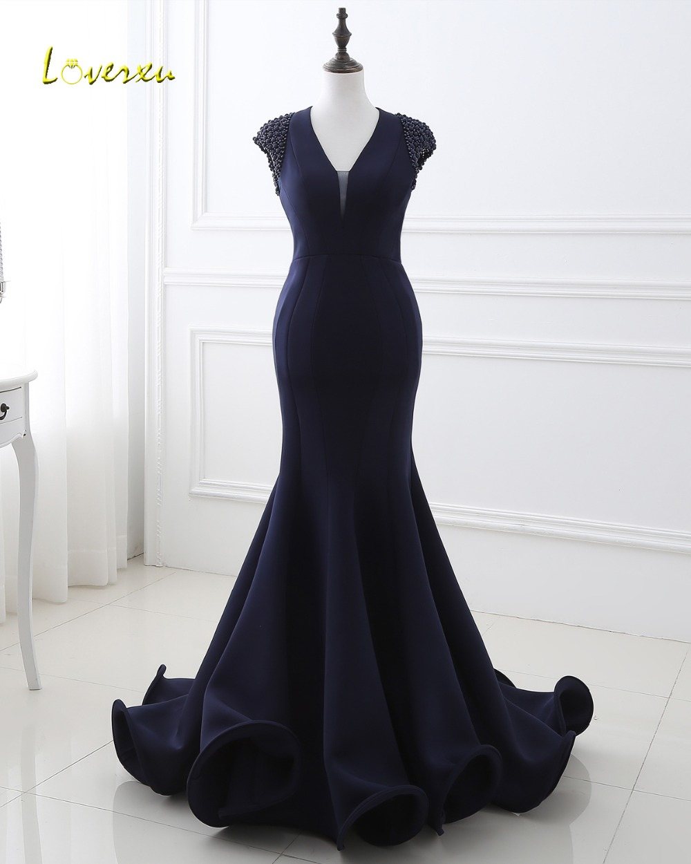 Loverxu Delicate Beaded Cap Sleeve Long Mermaid   Evening     Dresses   2019 Sexy Backless Ruffles Taffeta Prom   Dresses   Vestido de Festa