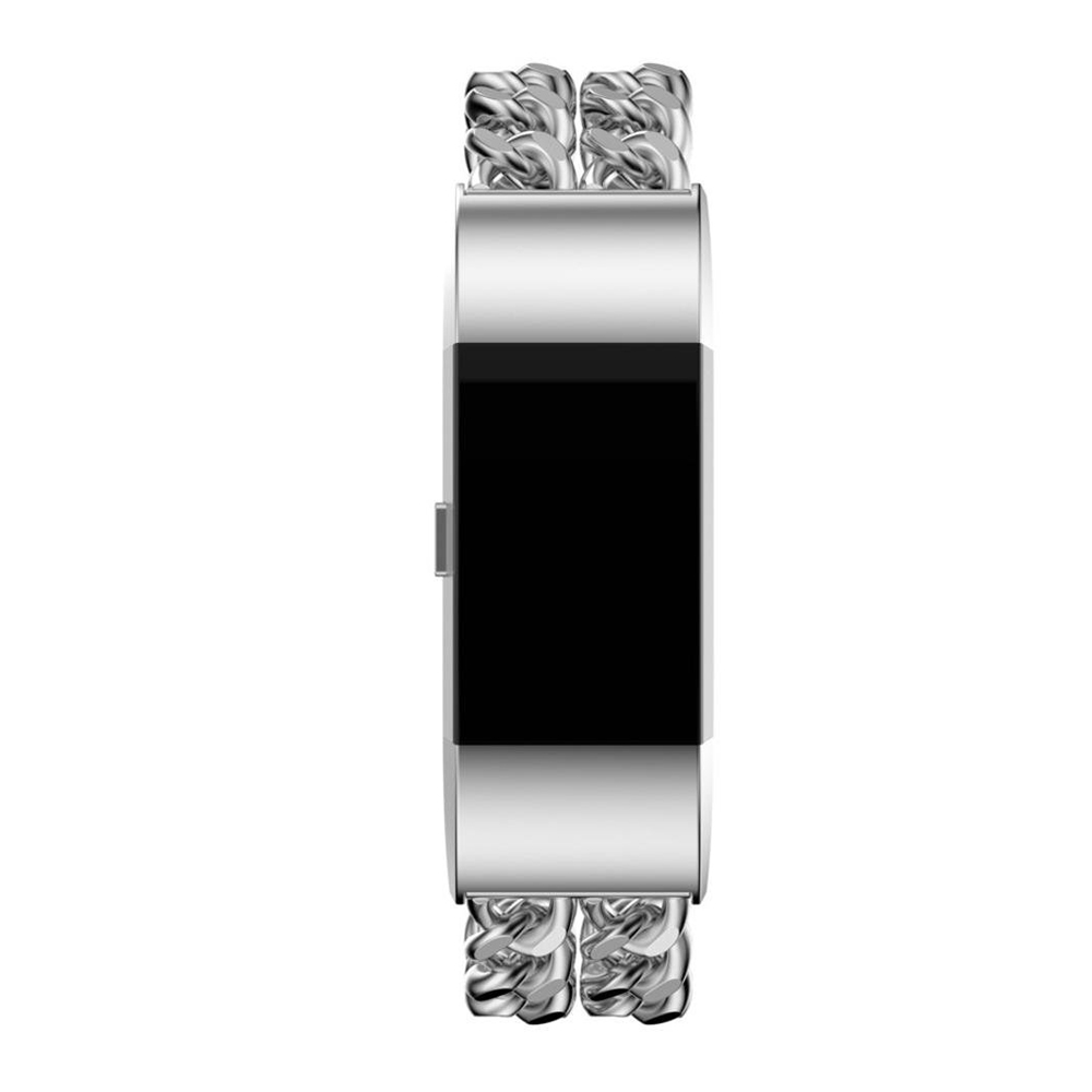 Replacement Bands for Fitbit Charge 2 Stainless Steel Double Chains Style Bracelet Band Metal Watch Bands Accessory for Charge 2