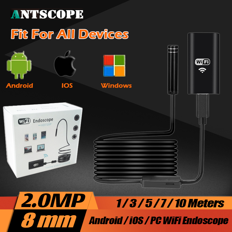 HD USB Endoscope 8MM 720P 2.0MP IOS Hard Cable Android Wifi 1m/3.5m/5m/7m/10m Hard Wire Mini Pipe Snake Camera Car Inspection детская игрушка new wifi ios