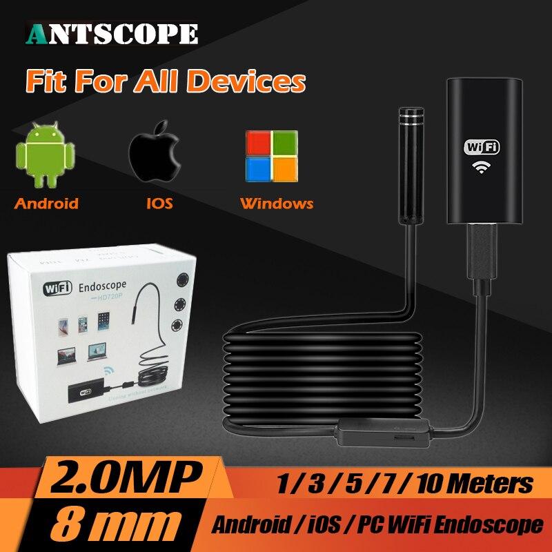 imágenes para HD USB Endoscopio 8 MM 720 P 2.0MP Duro Cable IOS Android Wifi 1 m/3.5 m/5 m/7 m/10 m Alambre Duro Mini Tubo de La Serpiente Cámara de Inspección Del Coche
