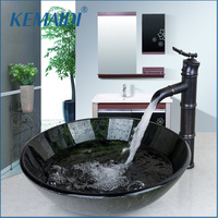 OUBONI Round Wash Basin Bathroom Sink Set Tempered Glass Bathroom Sink And Oil Rubbed Bronze Bathroom