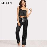 SHEIN Women Pajamas Sleepwear Two Piece Set Black Spaghetti Strap Eyelash Lace Applique Cami Top And