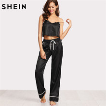 7669e55413 SHEIN Women Pajamas Sleepwear Two Piece Set Black Spaghetti Strap Eyelash  Lace Applique Cami Top and Pants Pajamas Set