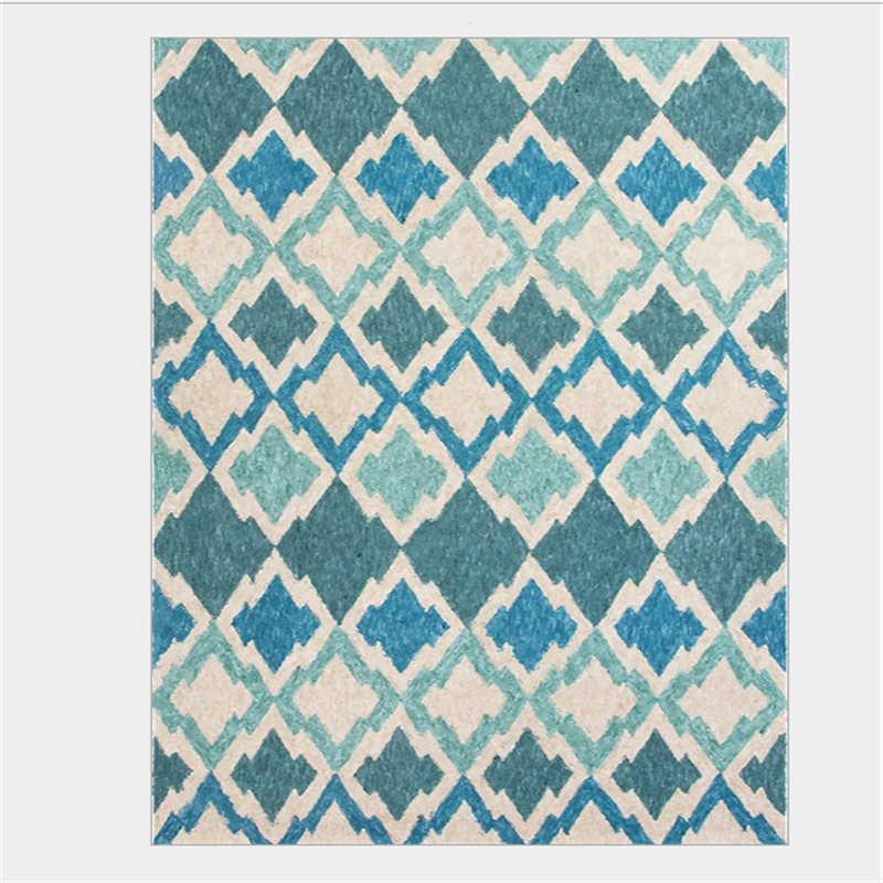Lago Azul europeu Geométrica Diamante De Cristal Curto de Veludo Do Tapete Tapete de Área para Sala de estar Sofá Mesa de Café Tapete Grande Tapete