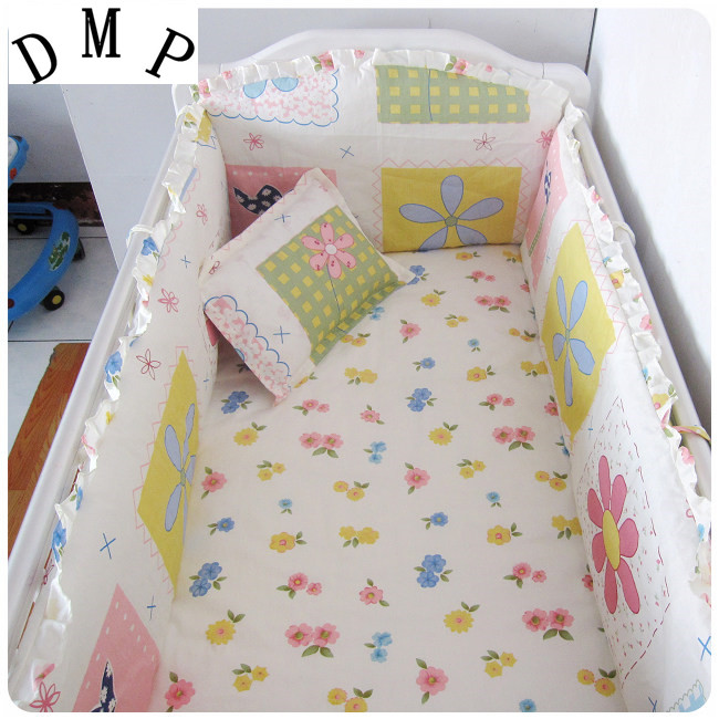 Promotion! 6pcs Baby Girl Baby Cot Crib Bedding Set,include (bumpers+sheet+pillow Cover)