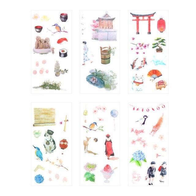 6 piezas pegatinas lindo tema japonés Scrapbooking bala revista pegatinas papelería Etiqueta de hecho a mano diario sello etiquetas