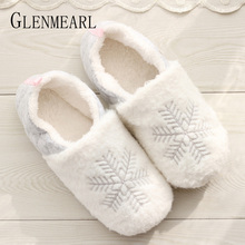 Women Slippers Winter Warm Fur Inoor Shoes Flat Cozy Soft Home Slippers Woman Snowflake White Non Slip Female Sliders Gift DE