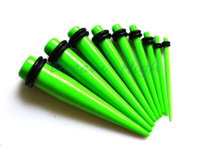 Green Colour Ear Piercing Taper Stretcher Plug Earring Stretching Expander Expanding Kit Set Uv Acrylic Lovely