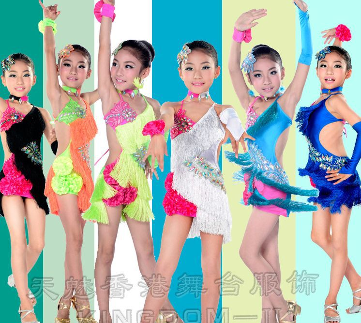 NEW child tassels Latin Dance Dresses Kids Ballroom Dresses Girls Samba Salsa Costumes Clothes for Children Multicolor 2016 sale new knee length kids kids dresses for girls free shipping2013 fashion dance dressperformance wear costumes th3004c