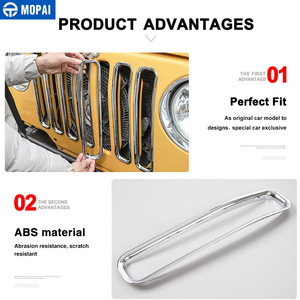 Image 3 - MOPAI For Jeep Wrangler TJ 1997 2006 Mesh Front Insert Grille Cover Trim Car Exterior Decoration ABS Stickers Car Styling