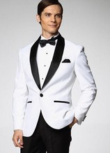 High Quality One Button White Groom Tuxedos Groomsmen Men's Wedding Prom Suits Custom Made (Jacket+Pants+Girdle+Tie) K:122