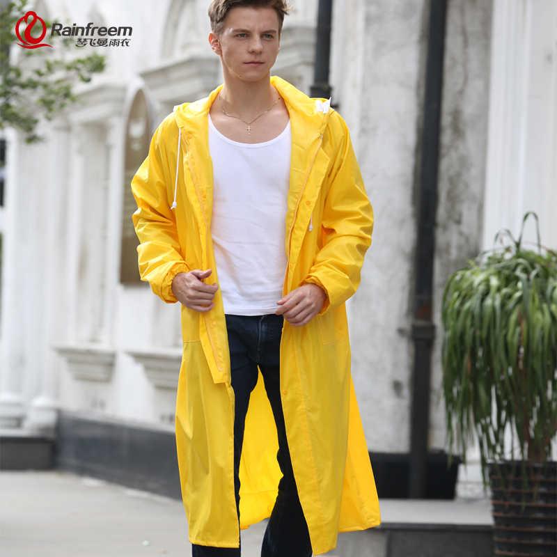 Rainfreem mężczyźni/kobiety płaszcz przeciwdeszczowy nieprzepuszczalna kurtka przeciwdeszczowa Plus rozmiar S-6XL żółty Poncho Camping odzież przeciwdeszczowa z kapturem sprzęt przeciwdeszczowy