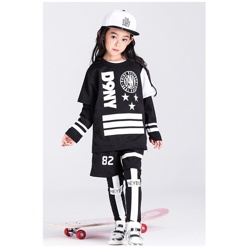 Children Girls hip-hop Dance Performance Sets Boys Kids Black Short Sleeve Jazz Dance Costumes Christmas Party Clothing