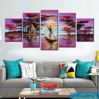 5 Panel Wall Art purple Pink Oil Painting On Canvas river landscape Abstract Paintings Pictures home Decor